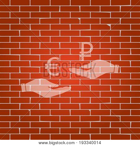 Currency exchange from hand to hand. Euro and Ruble. Vector. Whitish icon on brick wall as background.