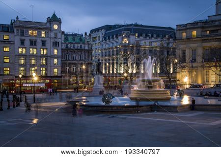 Trafalgar Square in the blue hour. London, UK