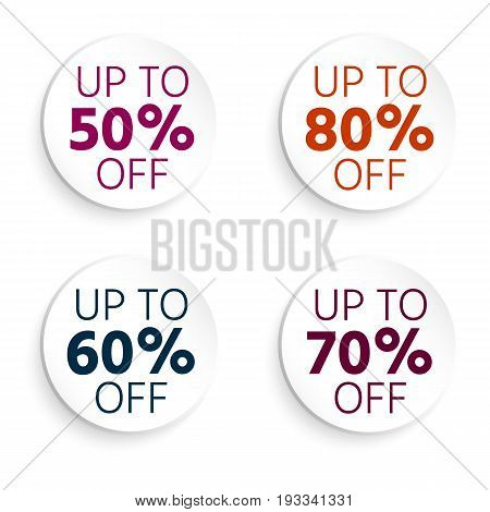 Round Button, Banner Discount. Up To 50 Off. Sale Banner. Vector Illustration With Isolated Design E