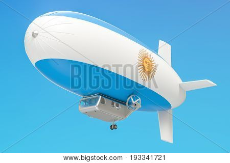 Airship or dirigible balloon with Argentina flag 3D rendering isolated on white background