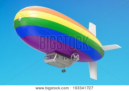 Airship or dirigible balloon with rainbow flag 3D rendering