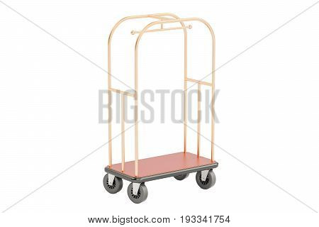 Luggage cart or hotel trolley 3D rendering isolated on white background