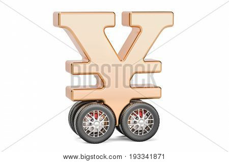 yen or yuan symbol on car wheels 3D rendering isolated on white background