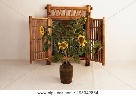 Five sunflowers in a clay vase on the background of a mirror шт ыегвшщ