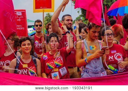 HAIFA Israel - June 30 2017: People march in the annual pride parade of the LGBT community in the streets of Haifa Israel