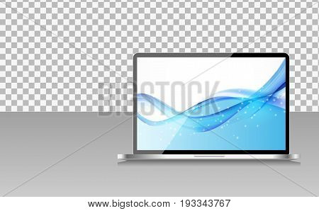 Realistic Computer Laptop with Abstract Wallpaper on Screen on Transperent Background. Vector Illustration EPS10