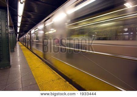New York Subway Speeding By A Platform