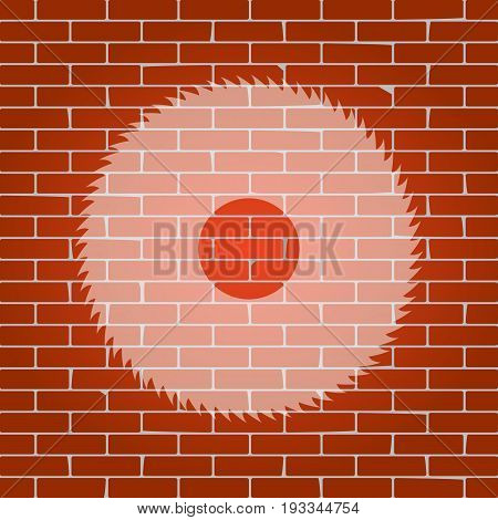 Saw sign. Vector. Whitish icon on brick wall as background.