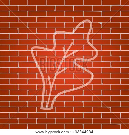 Lettuce leave sign. Vector. Whitish icon on brick wall as background.