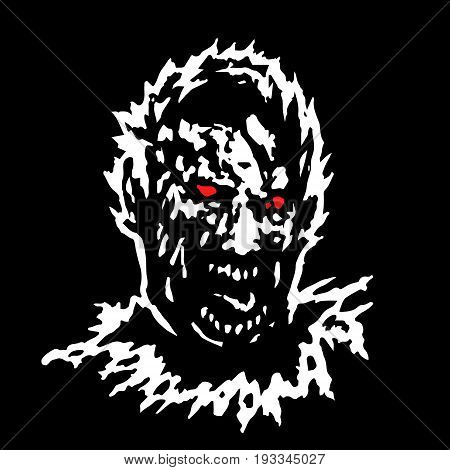 Frenzy zombie head. Vector illustration. Black and white colors.