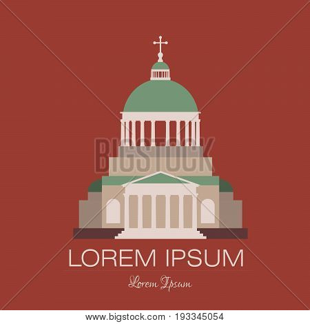 Classical building architecture made in cartoon vector style. Church building of a bank theater museum or art gallery modern logo template.City constructor series.
