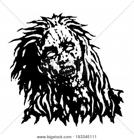 Dreadful head of zombie girl. Vector illustration. Black and white colors.