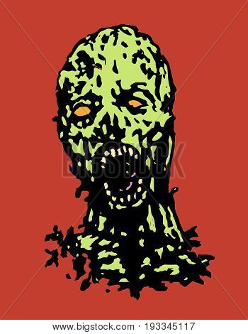 Cruel zombie head. Horror image. Vector illustration