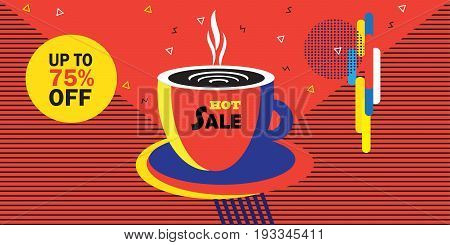 Sale discount abstract banner, modern art. Colorful Design, business brochure, Cafe menu cover futuristic minimal design, gift card, price tag, envelope, poster, texture. Coffee cup, Geometric dynamic shapes pattern Vector
