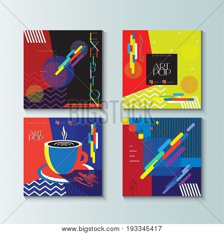 Pop Art abstract backgrounds set. Modern art Design for Gallery Exhibition catalog cover, business brochure, poster, banner, business card, envelope template. Vector Geometric dynamic shapes pattern