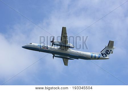 Amsterdam the Netherlands - May 6th 2017: G-ECOC Flybe De Havilland Canada DHC-8-400 takeoff from Polderbaan runway Amsterdam Schiphol Airport