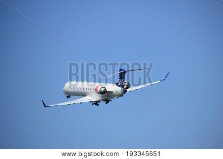 Amsterdam the Netherlands - May 6th 2017: OY-KFD SAS Scandinavian Airlines Canadair CL-600-2D24 Regional Jet CRJ-900LR takeoff from Polderbaan runway Amsterdam Schiphol Airport
