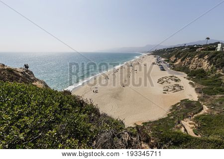 Malibu, California, USA - June 29, 2017:  View of popular Westward Beach from Point Dume State Park.