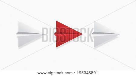 Vector modern concept leadership background. Red and white origami airplane.