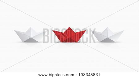 Vector modern concept leadership background. Red and white origami boat.
