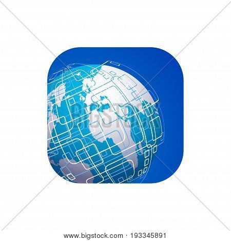 Vector modern techology icon on white background. global world backdrop