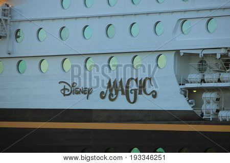Velsen the Netherlands - May 25th 2017: Disney Magic detail