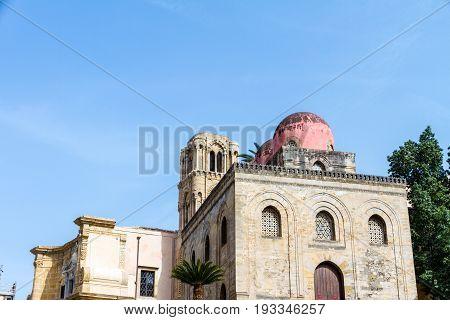 The Arab-Norman architecture church of San Cataldo in Bellini square Palermo Italy