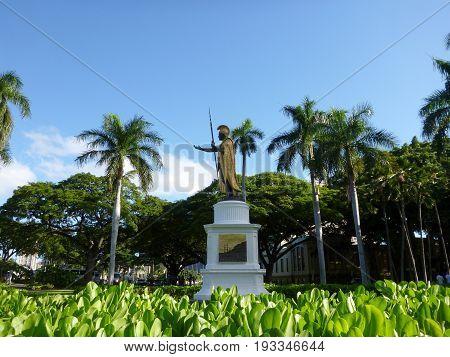 Statue of King Kamehameha in downtown Honolulu Hawaii