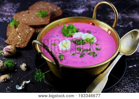 Lithuanian  cold  soup with sour cream  in  copper  pot