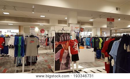 SEATTLE-- JUNE 25: Inside Boy's sections of Macy's Store in historic building on June 25 2016 in Seattle WA. Macy's division operates 728 department store locations in the continental United States Hawaii Puerto Rico and Guam including the Herald Square f