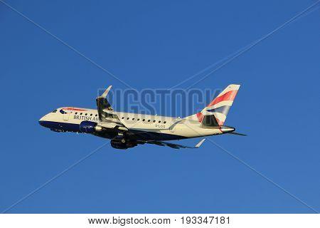 Amsterdam the Netherlands - June 1st 2017: G-LCYD BA CityFlyer Embraer ERJ-170STD taking off from Polderbaan Runway Amsterdam Airport Schiphol