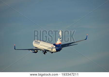 Amsterdam the Netherlands - June 1st 2017: TC-SOC SunExpress Boeing 737-800 taking off from Polderbaan Runway Amsterdam Airport Schiphol