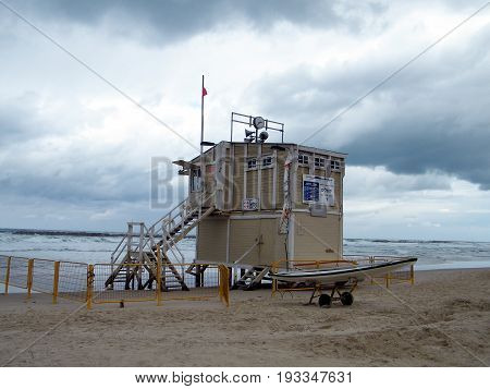 Life-saving station on Tel Aviv beach a cloudy day Israel