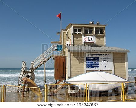 Life-saving station on Tel Aviv beach Israel