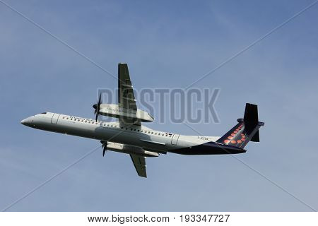 Amsterdam the Netherlands - June 2nd 2017: G-ECOK Brussels Airlines De Havilland Canada DHC-8 taking off from Polderbaan Runway Amsterdam Airport Schiphol