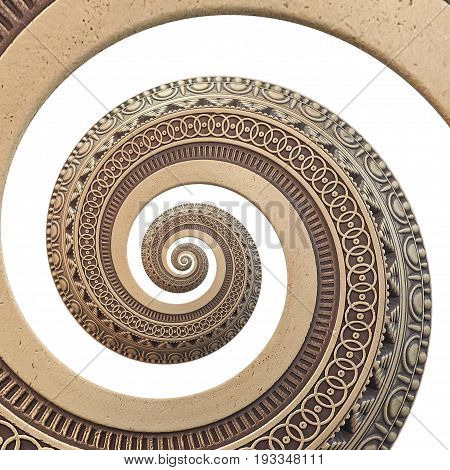 Isolated on white bronze copper geometrical abstract ornament spiral fractal pattern background. Metal spiral pattern effect background. Spiral symmetrical pattern. Abstract spinning effect background