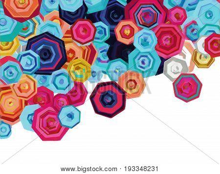 An arrangement of abstract heptagonal flower shapes