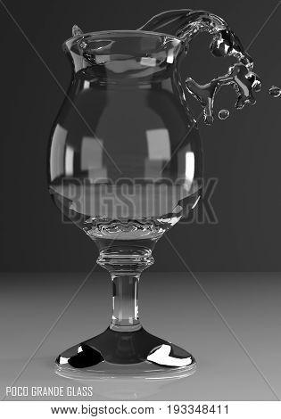 poco grande glass 3D illustration on dark background