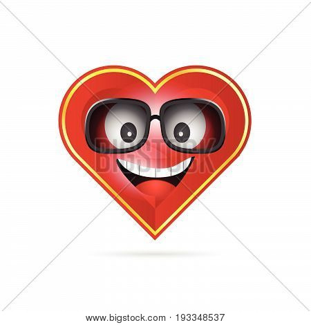 Heart Funny With Sunglasses Illustration
