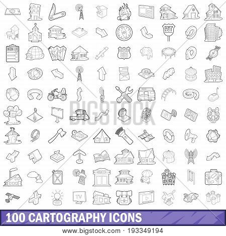 100 cartography icons set in outline style for any design vector illustration