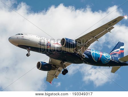 SHEREMETYEVO MOSCOW REGION RUSSIA - June 28 2017: Airbus A320 of Aeroflot Airlines in the livery in the symbolism of the basketball club CSKA Moscow makes a landing at Sheremetyevo International Airport.