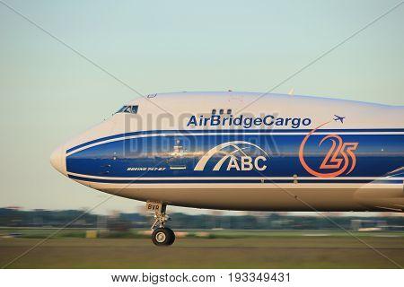 Amsterdam the Netherlands - June 1st 2017: VQ-BVR AirBridgeCargo Boeing 747-8F taking off from Polderbaan Runway Amsterdam Airport Schiphol