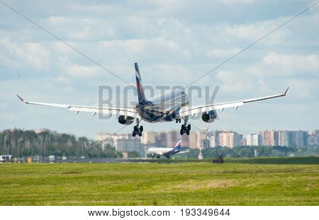SHEREMETYEVO MOSCOW REGION RUSSIA - June 28 2017: Airbus A330 of Aeroflot Airlines makes a landing at Sheremetyevo International Airport.