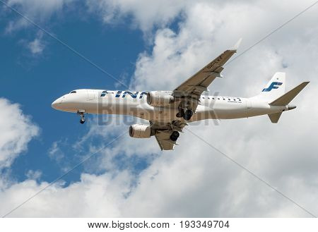 SHEREMETYEVO MOSCOW REGION RUSSIA - June 28 2017: Embraer ERJ-190LR of Finnair Airlines makes a landing at Sheremetyevo International Airport.