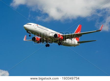 SHEREMETYEVO MOSCOW REGION RUSSIA - June 28 2017: Boeing 737-800 of Royal Flight Airlines makes a landing at Sheremetyevo International Airport.
