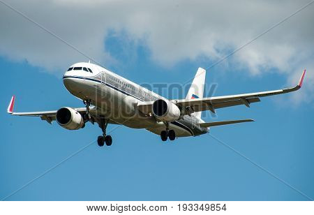 SHEREMETYEVO MOSCOW REGION RUSSIA - June 28 2017: Airbus A320 of Aeroflot Airlines makes a landing at Sheremetyevo International Airport.
