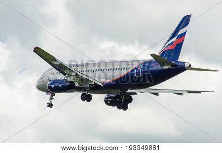 SHEREMETYEVO MOSCOW REGION RUSSIA - June 28 2017: Sukhoi Superjet 100 (SSJ 100-95B) of Aeroflot Airlines makes a landing at Sheremetyevo International Airport.