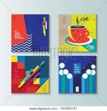 Pop Art abstract backgrounds set. Modern art Design for Gallery Exhibition catalog cover, business brochure, poster, banner, business card, envelope template. Vector Geometric dynamic shapes pattern.