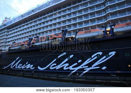Amsterdam The Netherlands - May 11th 2017: Mein Schiff 3 TUI Cruises docked at Passenger Terminal Amsterdam detail