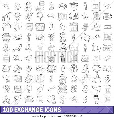 100 exchange icons set in outline style for any design vector illustration